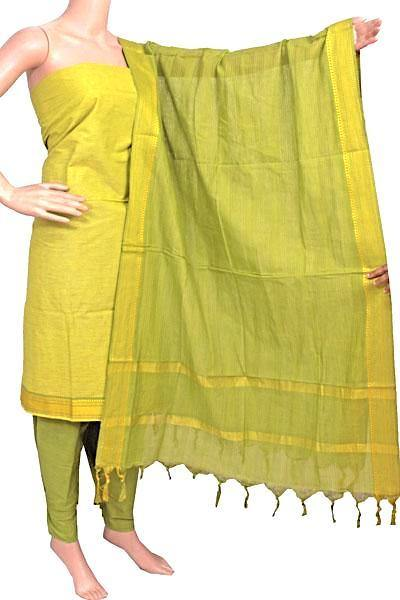 Mangalagiri Cotton Salwar set material - 84004A (3 pc - Tops, Bottom & Dhuppatta) * Intro Offer Rs.100 off *, Chudi - Swadeshi Boutique