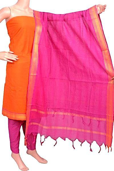Mangalagiri Cotton Salwar set material - 84006A (3 pc - Tops, Bottom & Dhuppatta) * Intro Offer Rs.100 off *, Chudi - Swadeshi Boutique