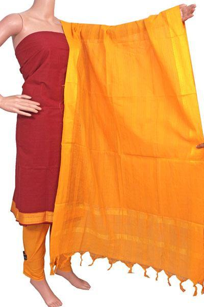 Mangalagiri Cotton Salwar set material - 84007A (3 pc - Tops, Bottom & Dhuppatta) * Intro Offer Rs.100 off *, Chudi - Swadeshi Boutique