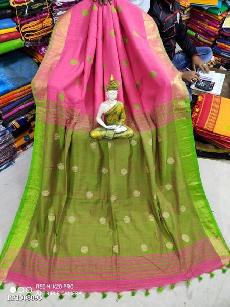 Khadi cotton saree with Ball putta design in all over body - 74007A, Sarees - Swadeshi Boutique