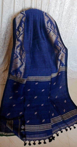 Linen Saree premium quality with beautiful Jamdhani Work  - 76018A * New Arrival *