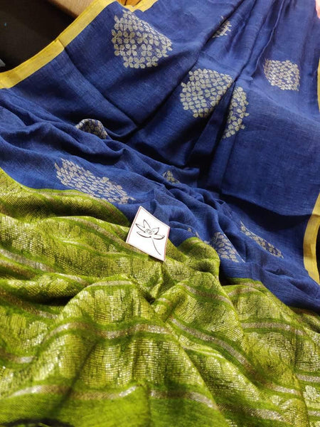 Linen Saree premium quality with beautiful Jamdhani Work  - 76016A * New Arrival *