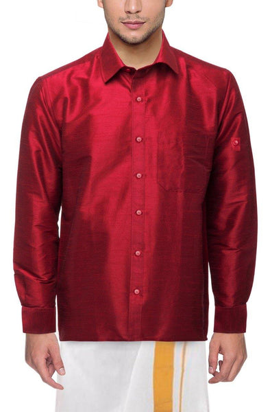 Traditional Raw Silk Shirt for men (Red) - 90011A