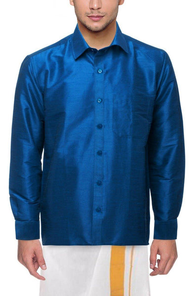 Traditional Raw Silk Shirt for men (Blue) - 90012A