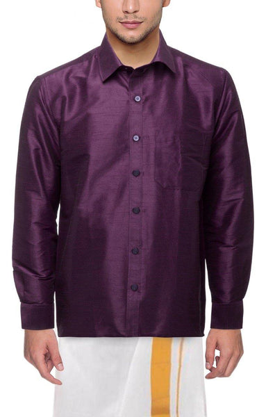 Traditional Raw Silk Shirt for men (Purple) - 90010A