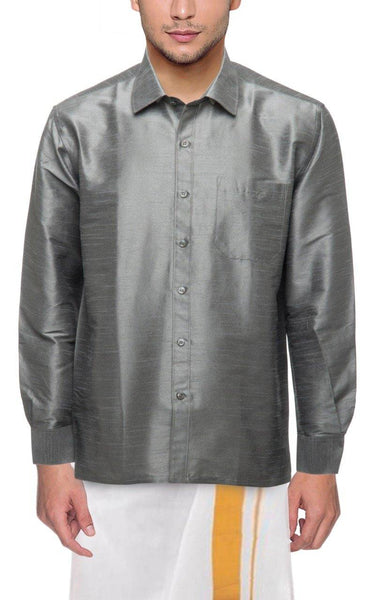 Traditional Raw Silk Shirt for men (Grey) - 90004A