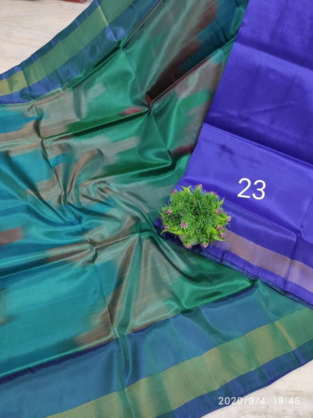 Uppada Silk saree with a beautiful katari Pochampally weaving and a contrasting blouse - 38035A, Sarees - Swadeshi Boutique