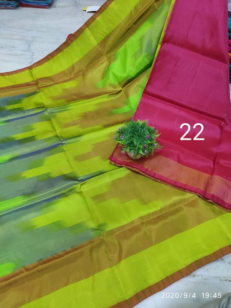 Uppada Silk saree with a beautiful katari Pochampally weaving and a contrasting blouse - 38036A