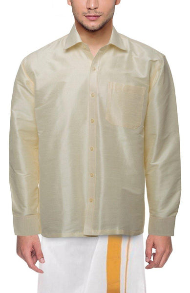 Traditional Raw Silk Shirt for men (Half White) - 90005A