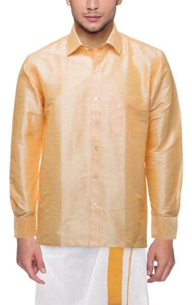 Traditional Raw Silk Shirt for men (Sandal) - 90006A