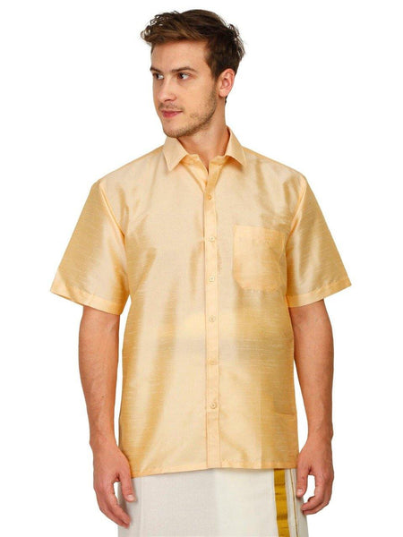 Traditional Raw Silk Shirt for men (Sandal) - 90013A, Shirts - Swadeshi Boutique
