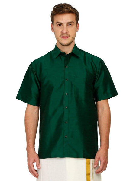 Traditional Raw Silk Shirt for men (Green) - 90015A, Shirts - Swadeshi Boutique