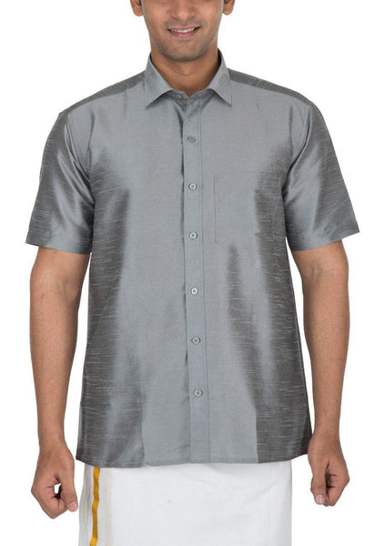 Traditional Raw Silk Shirt for men (Grey) - 90014A, Shirts - Swadeshi Boutique