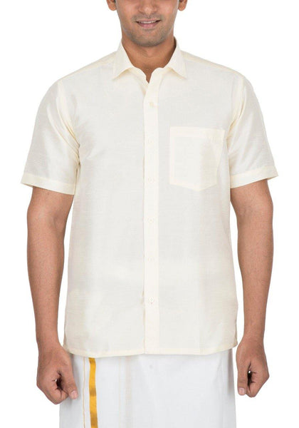 Traditional Raw Silk Shirt for men (Half White) - 90012A, Shirts - Swadeshi Boutique