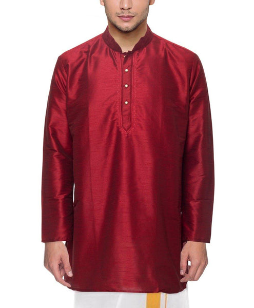 Traditional Raw Silk Kurta for men with beautiful embroidary (Maroon) - 91003A