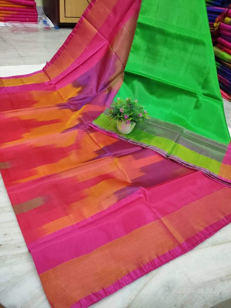 Uppada Silk saree with a beautiful katari Pochampally weaving and a contrasting blouse - 38030A, Sarees - Swadeshi Boutique