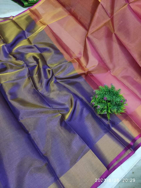 Uppada Silk saree (Tissue pattern) with a contrasting attached blouse - 38028A, Sarees - Swadeshi Boutique