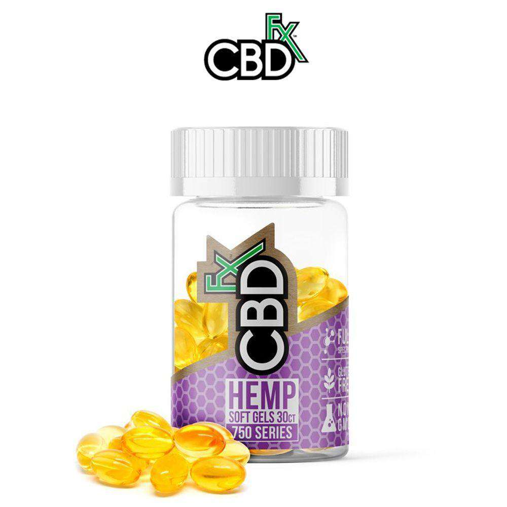 CBDfx 750mg Full Spectrum Hemp Soft Gel Capsules - Single Bottle - icbdoil.com