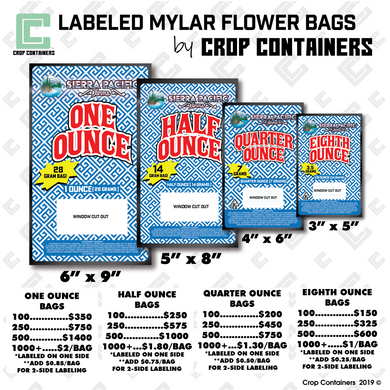 Labeled Mylar Flower Bags - by Crop Containers