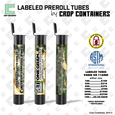 Labeled Preroll Tubes - by Crop Containers