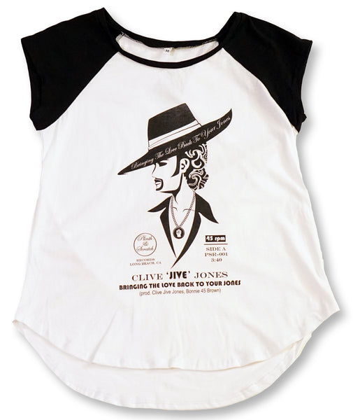 CLIVE JIVE JONES WOMENS CAP SLEEVE BASEBALL TEE