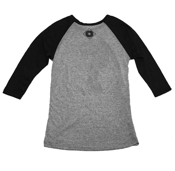 "JIVE 45 HEATHER GREY & BLACK 3/4"" SLEEVE RAGLAN"