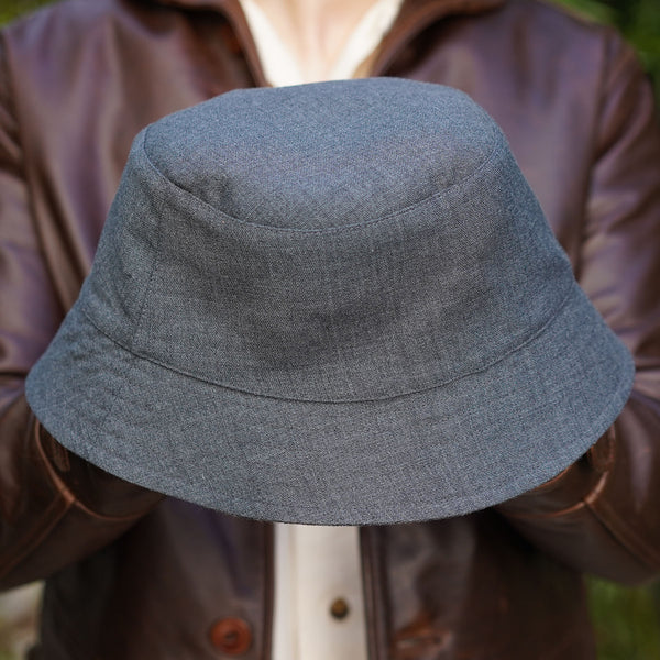 Reda Tattersall/ Hardy Minnis Gunmetal Twill Wool Reversible Joyride Bucket Hat