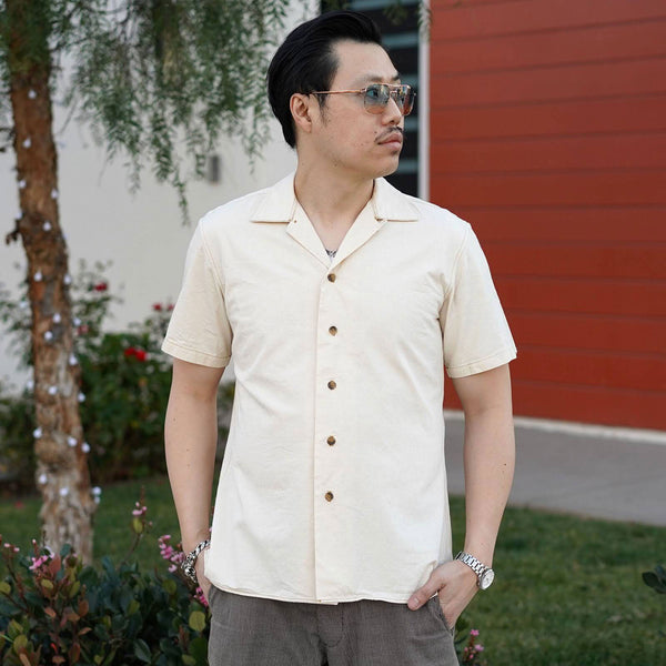 Cruising Short Sleeve Camp Shirt in Selvage Cotton Seed Fleck Yoshiwa Twill
