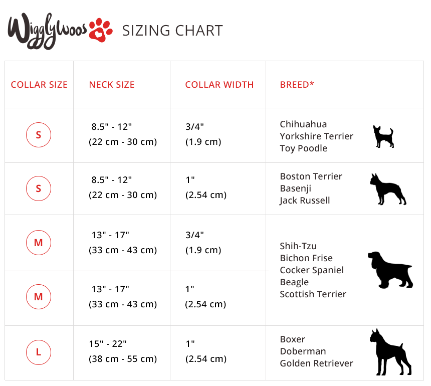 Wigglywoos Dog Collar Sizing Chart