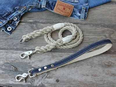 2-in-1 Interchangeable Dog Leash with Denim Handle