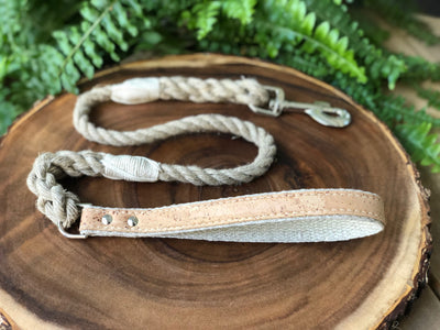 Hemp Rope Dog Leash with Natural Cork Leather Handle