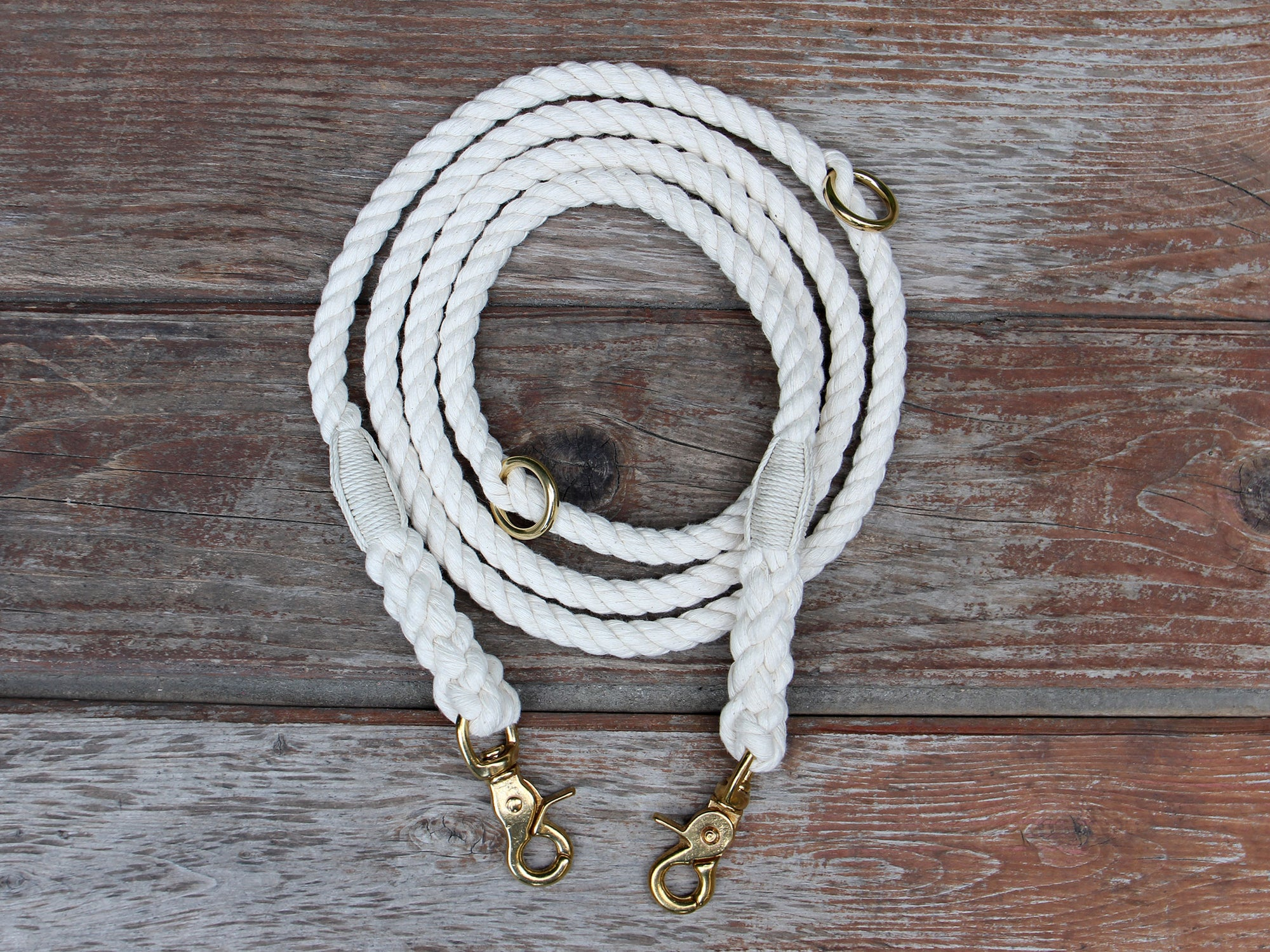 Adjustable Organic Cotton Rope Dog Leash Bronze Hardware