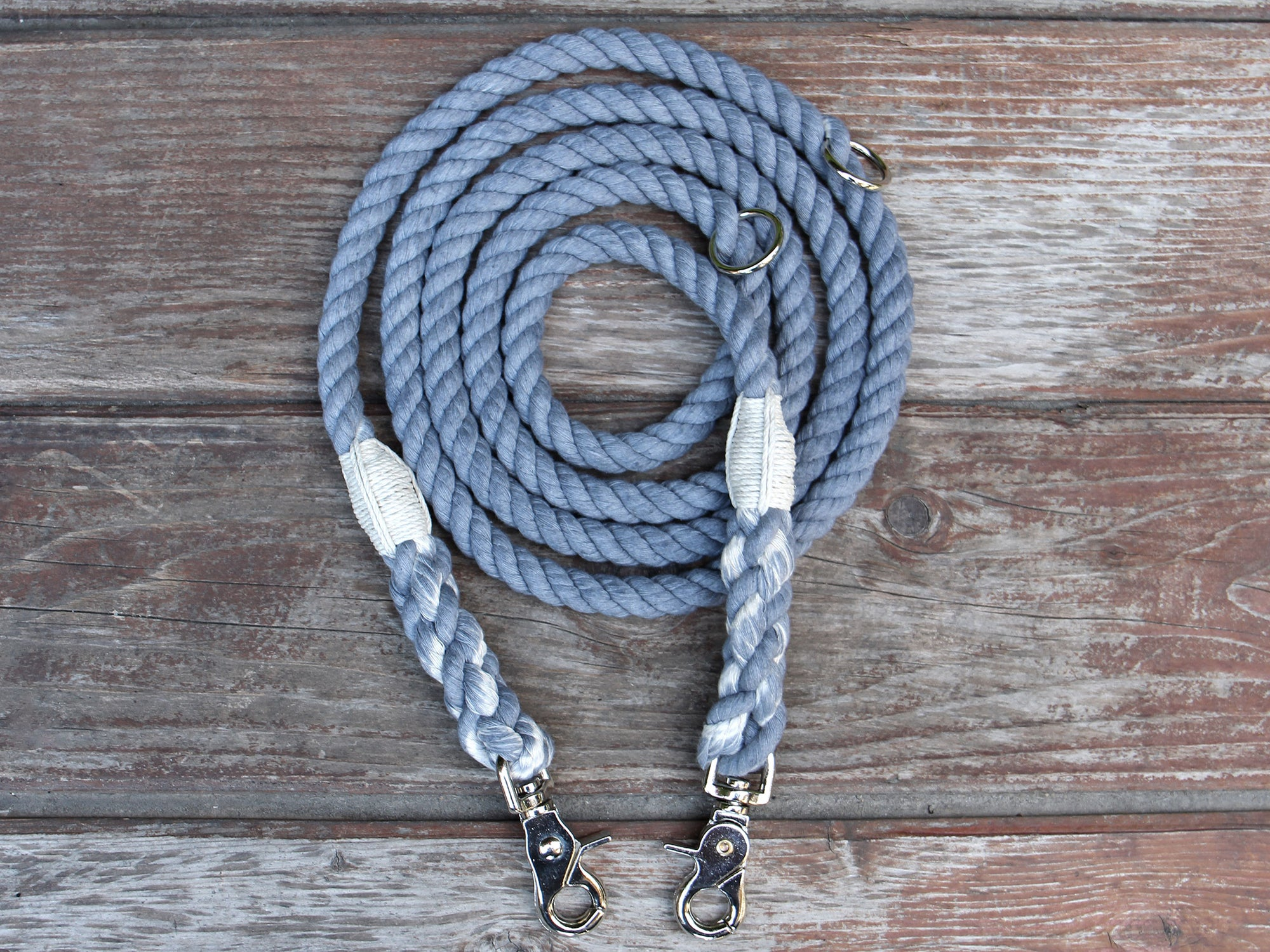 Adjustable Seaside Blue Organic Cotton Rope Dog Leash