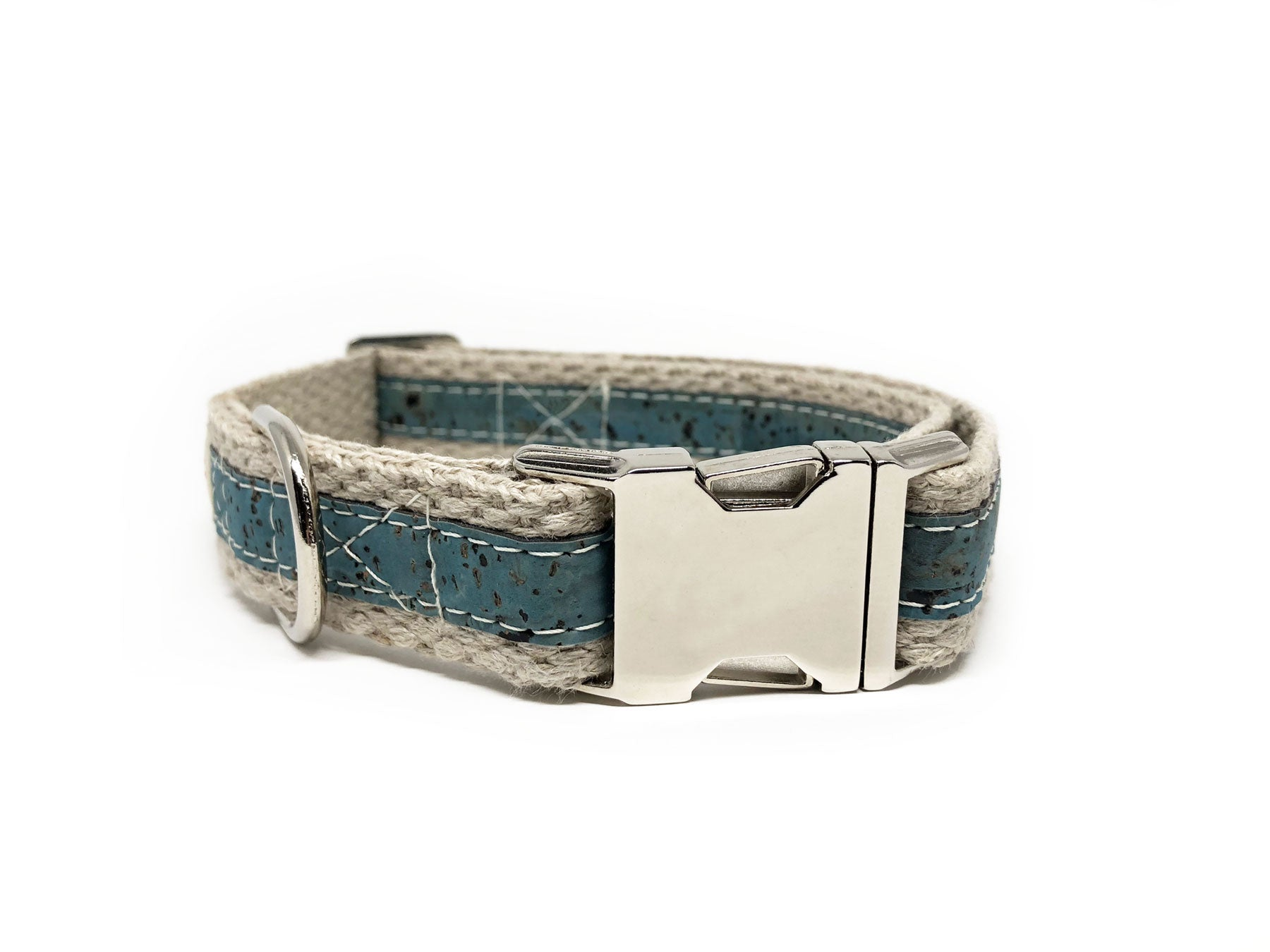 Adventurer Ocean Blue Cork Leather Large Dog Collar, Hemp Webbing
