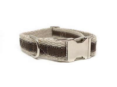 Adventurer Brown Cork Leather Large Dog Collar, Hemp Webbing