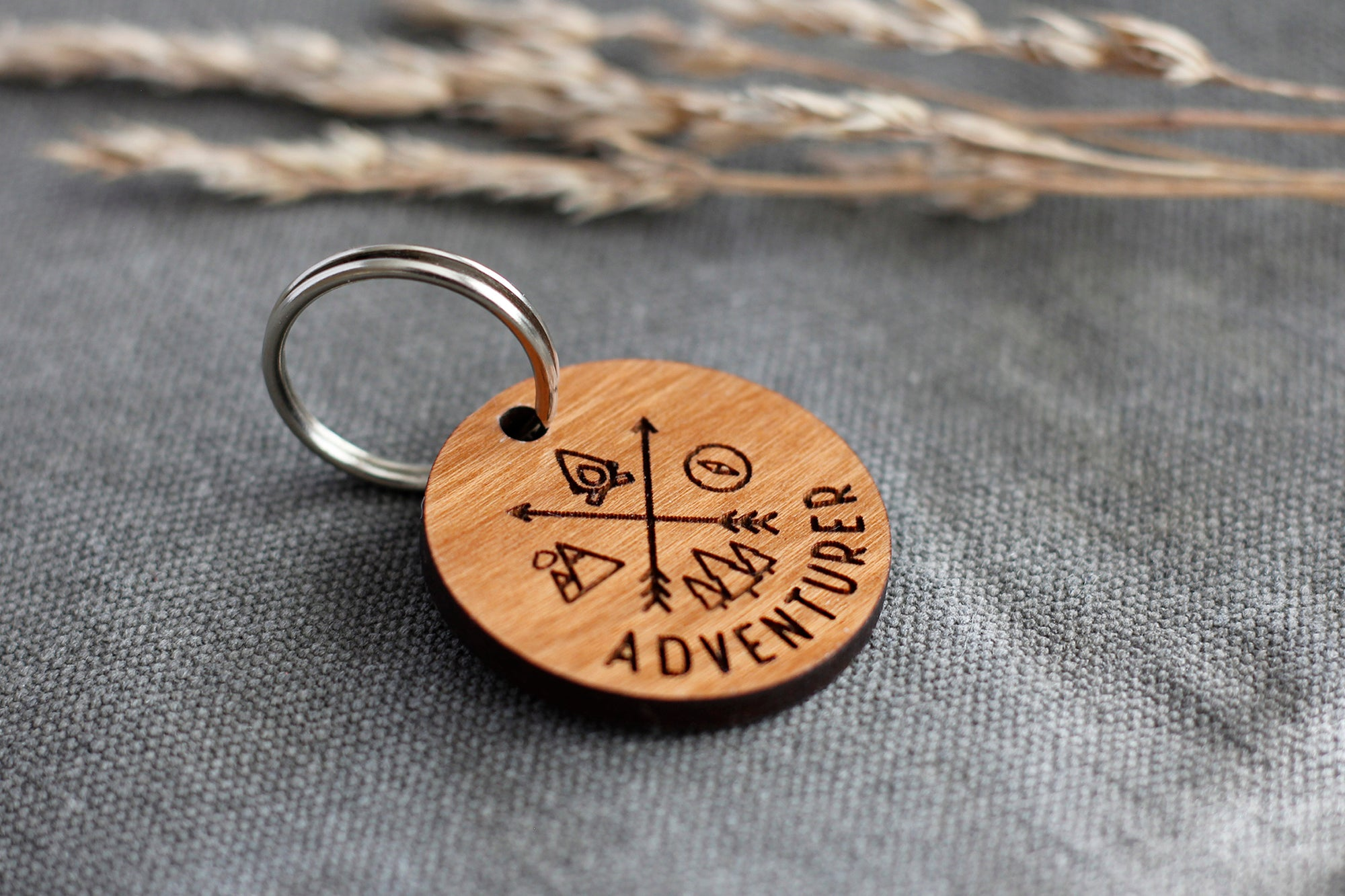 """Adventurer"" Wooden Pet ID Tag"