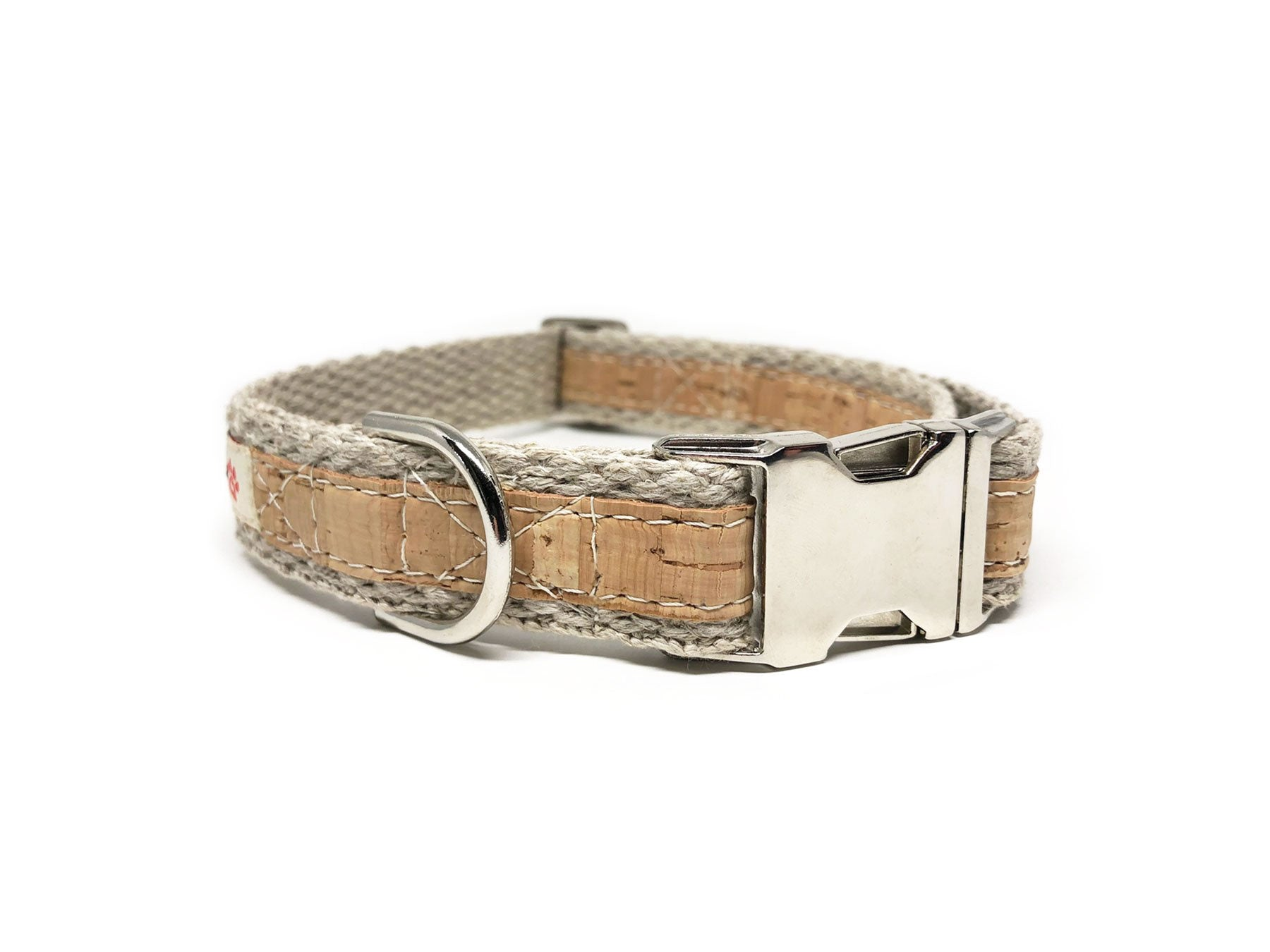 Adventurer Natural Cork Leather Large Dog Collar, Hemp Webbing