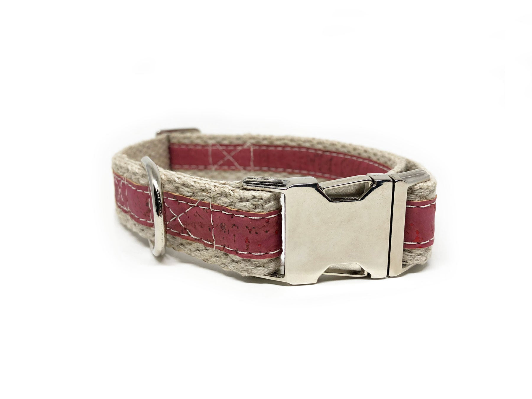 Adventurer Pretty in Pink Cork Leather Large Dog Collar, Hemp Webbing