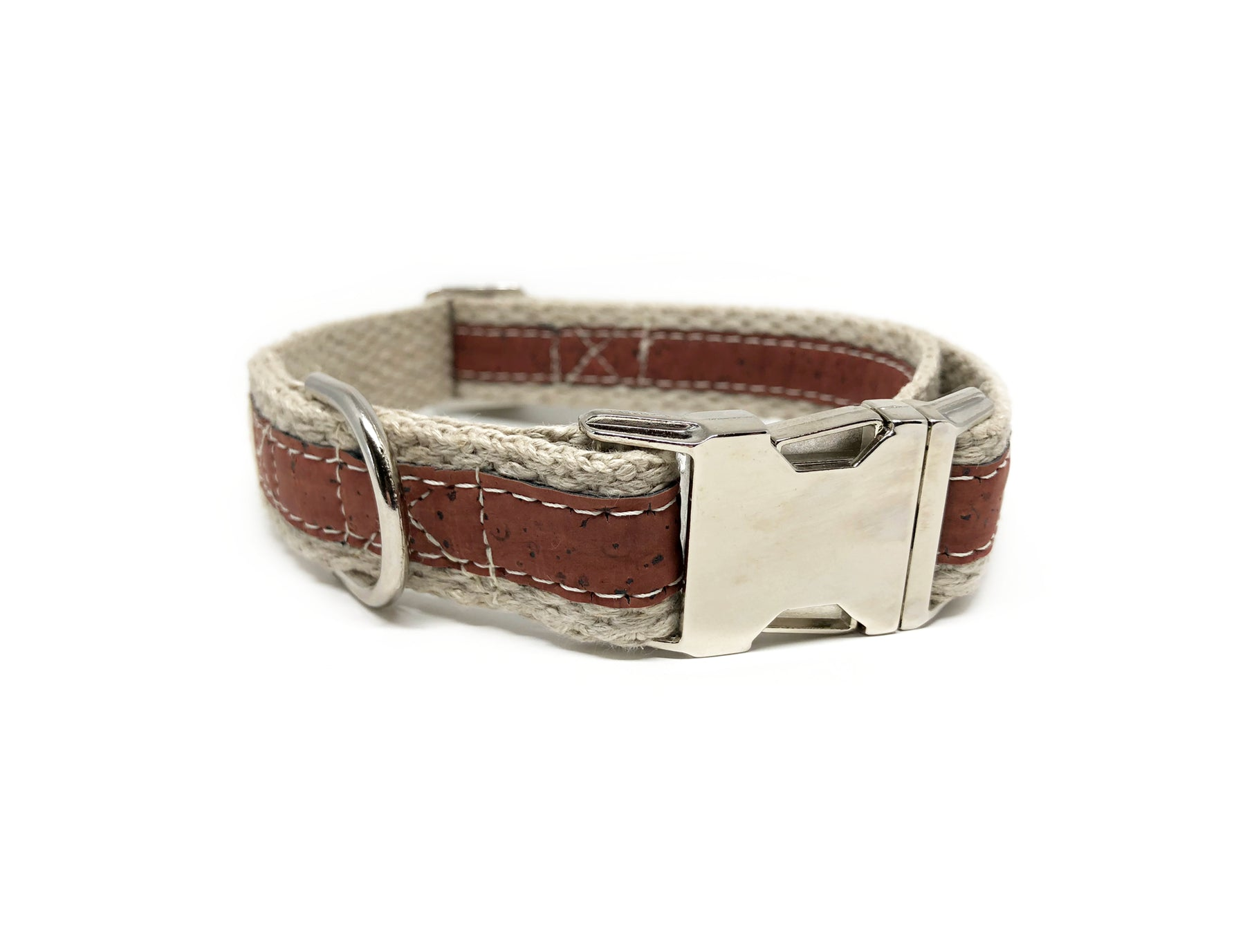 Adventurer Red Cork Leather Large Dog Collar, Hemp Webbing