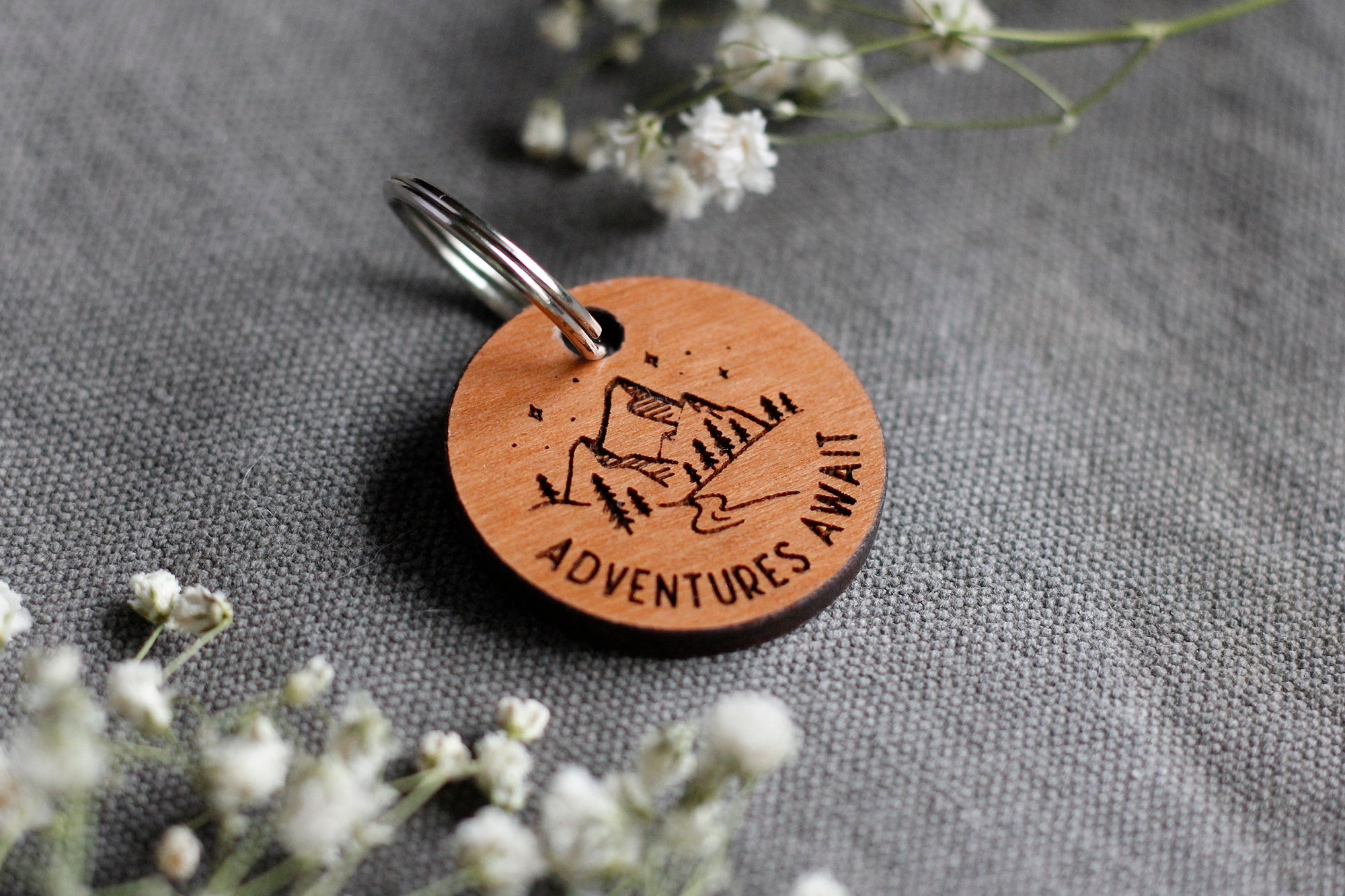 Adventures Await Wooden Pet Tag
