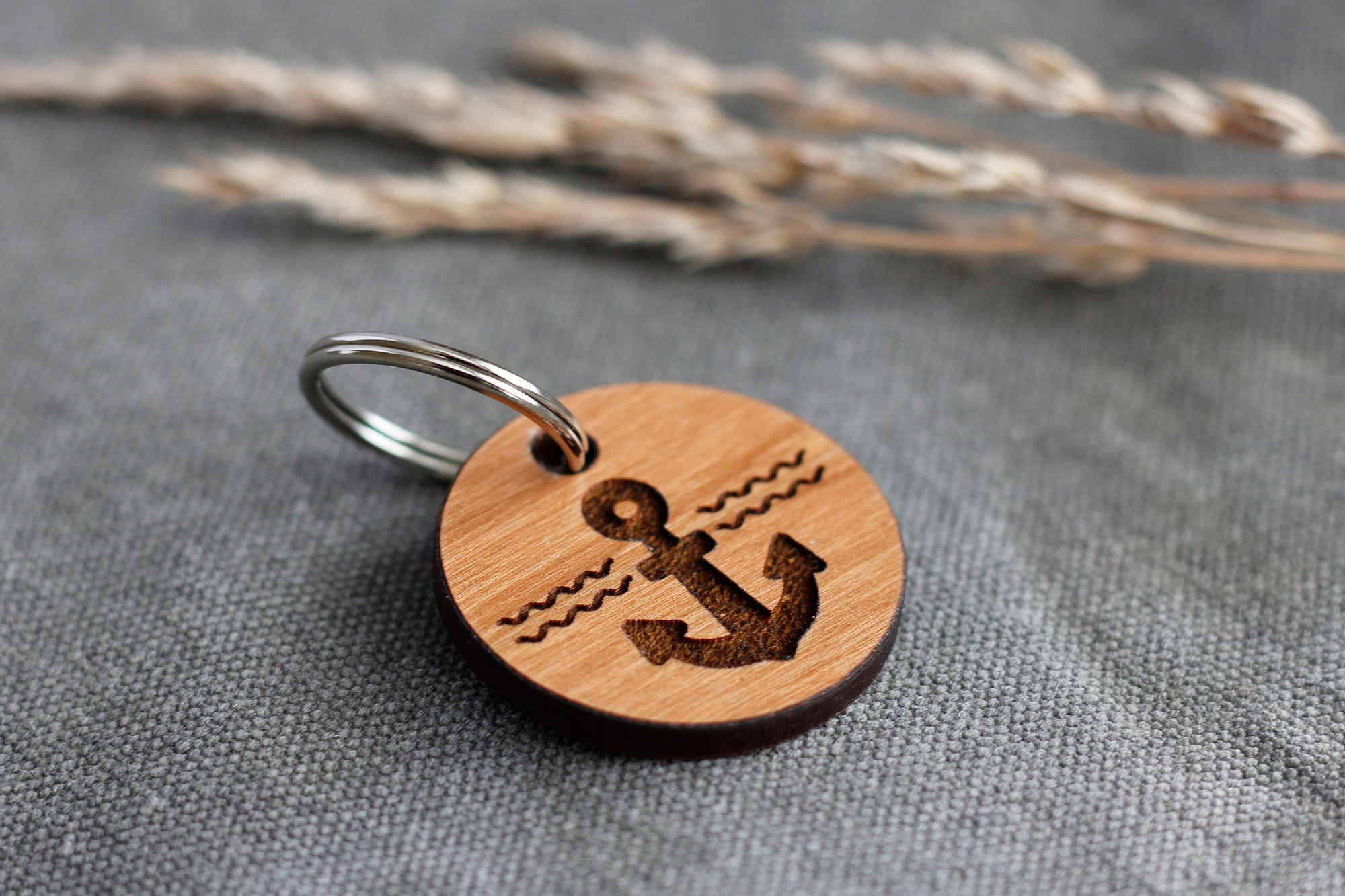 """Anchor"" Wooden Pet ID Tag"