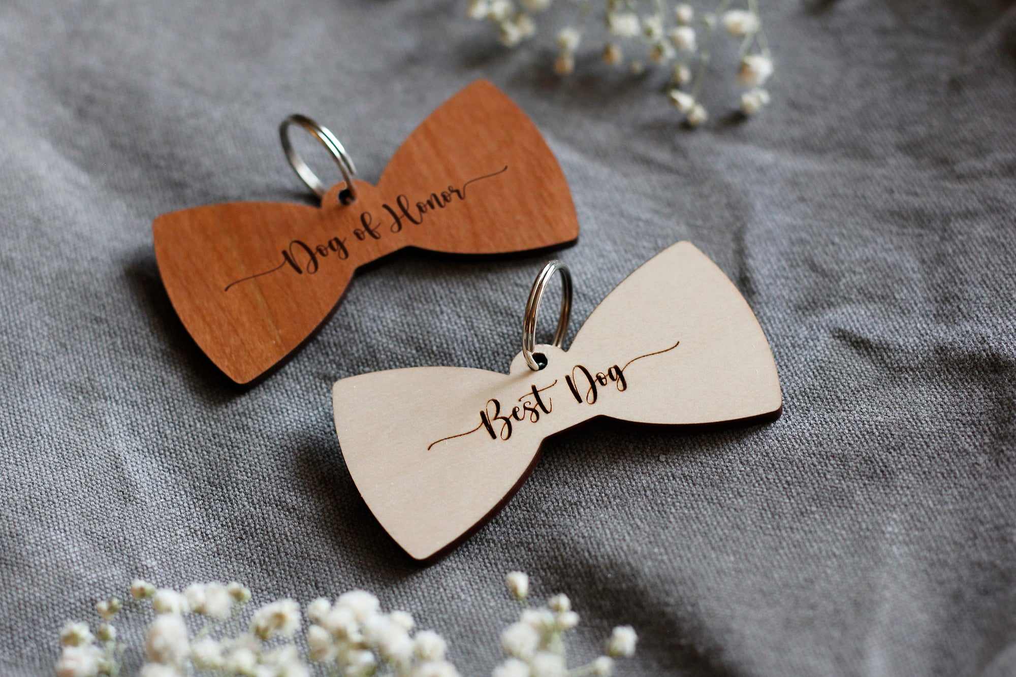 Best Dog Wooden Bow Tie Pet Tag