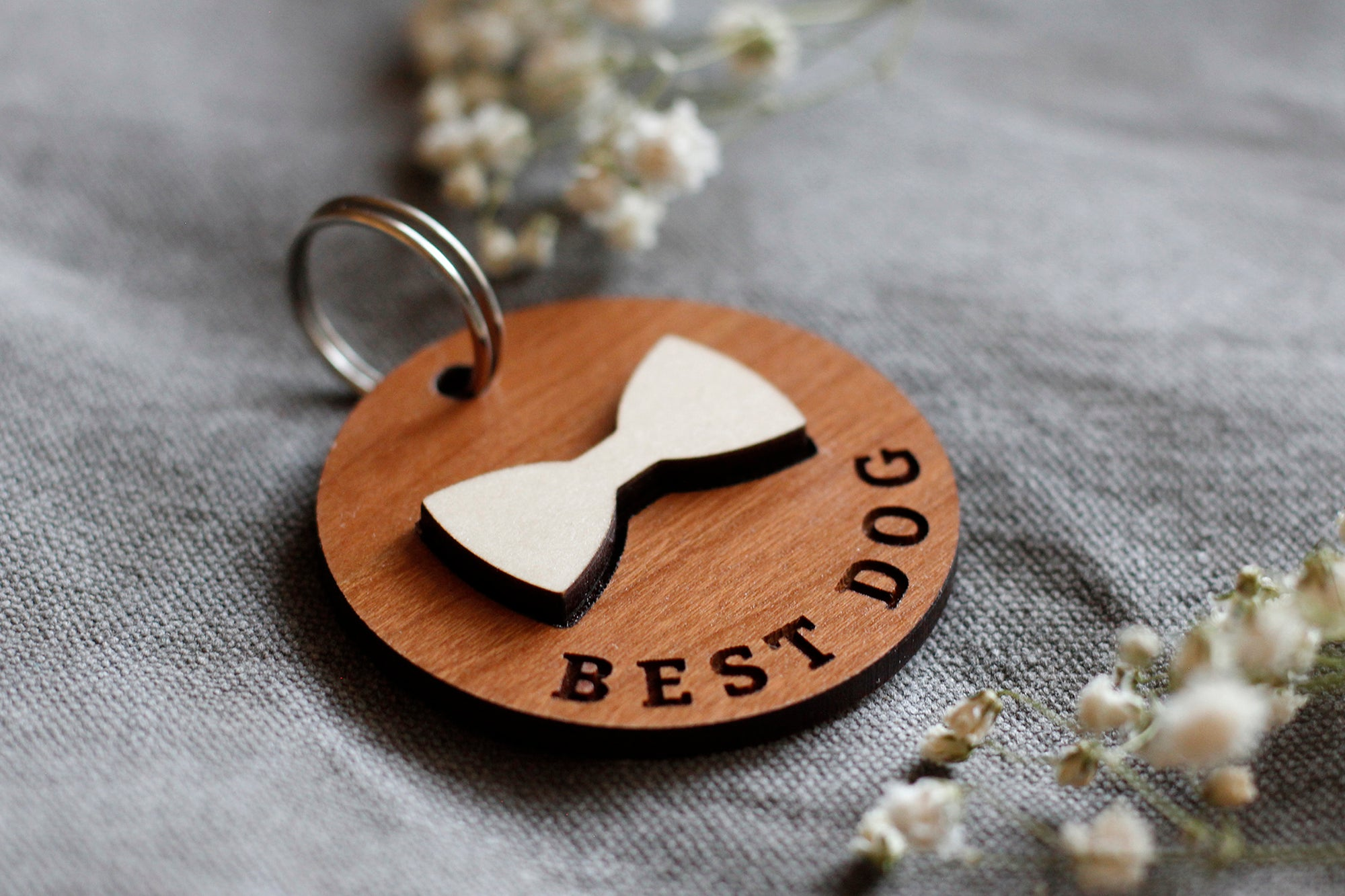 Best Dog Bow Tie Wooden Round Pet Tag