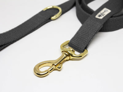 Black Flat Just Hemp Dog Leash Brass