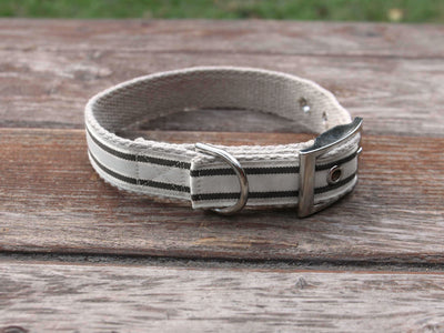 Tongue Buckle Nautical Striped Dog Collar - Charcoal