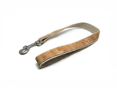 Flat Traffic Dog Leash, Cork and Hemp Webbing