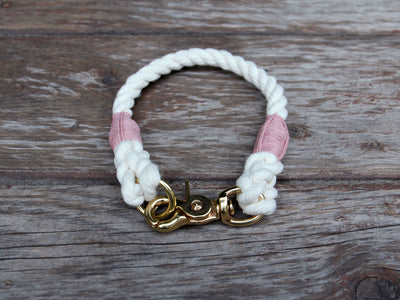 Natural Cotton Rope Dog ID Collar - Extra Small and Toy Dogs