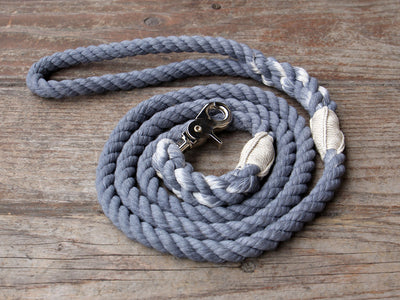 Bayside Blue Cotton Rope Dog Leash with Trigger Snap