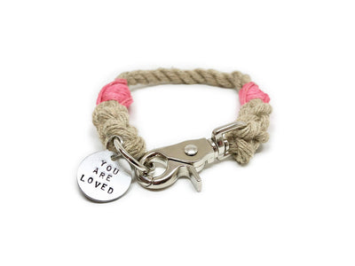 Rope Dog Collar Pink