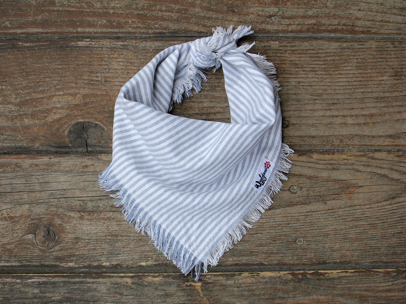 Fringed Babyblue White Striped Dog Bandana